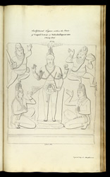 'Sculptured figure within the Cave of Capul Iswar at Mahabalipooram 2nd July 1816. Copied by A. Macpherson.'